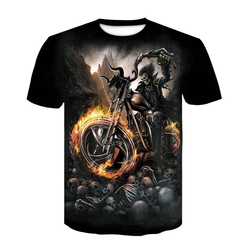 2019 new 3D motorcycle skull man T-shirt high quality short-sleeved casual T-shirt summer street fashion brand harajuku T-shirt