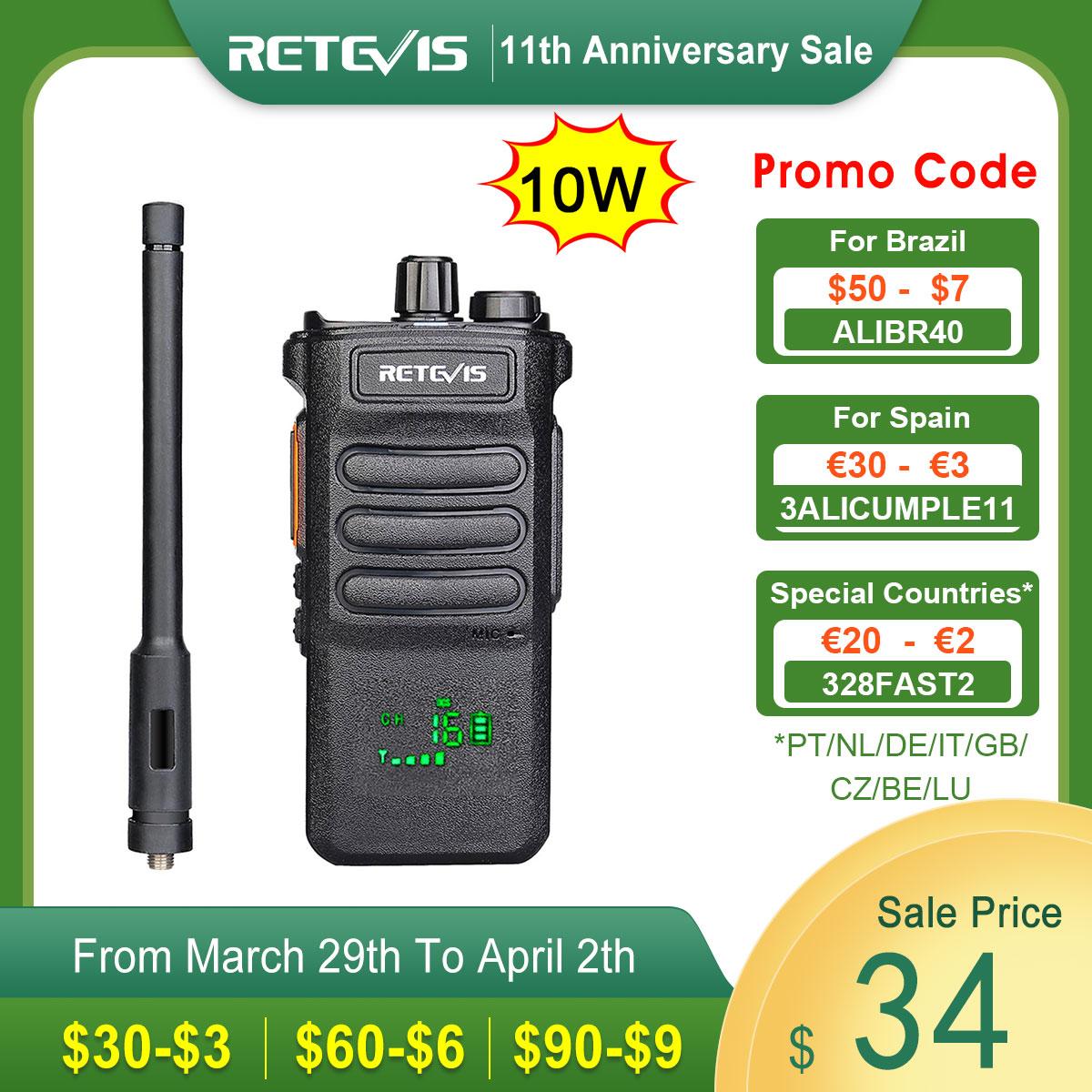 AliExpress - 10W Retevis Walkie Talkie Long Range RT86 Walkie-talkies 1 2 pcs Portable Radio For Hunting Powerful walkie-talkie Two-way radio