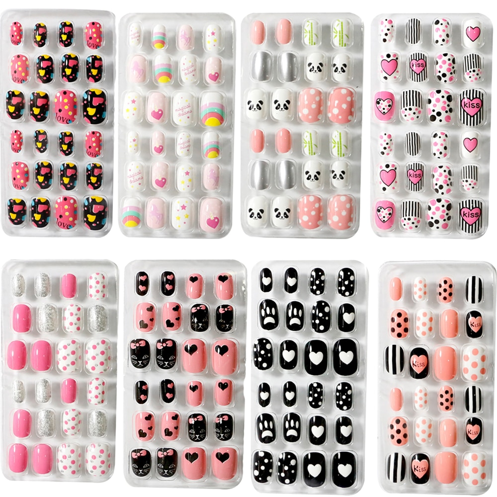 Kids Full Cover False Nails Press On Self Adhesive Nail Manicure Tips Candy Color Fake Nails Nail Ar