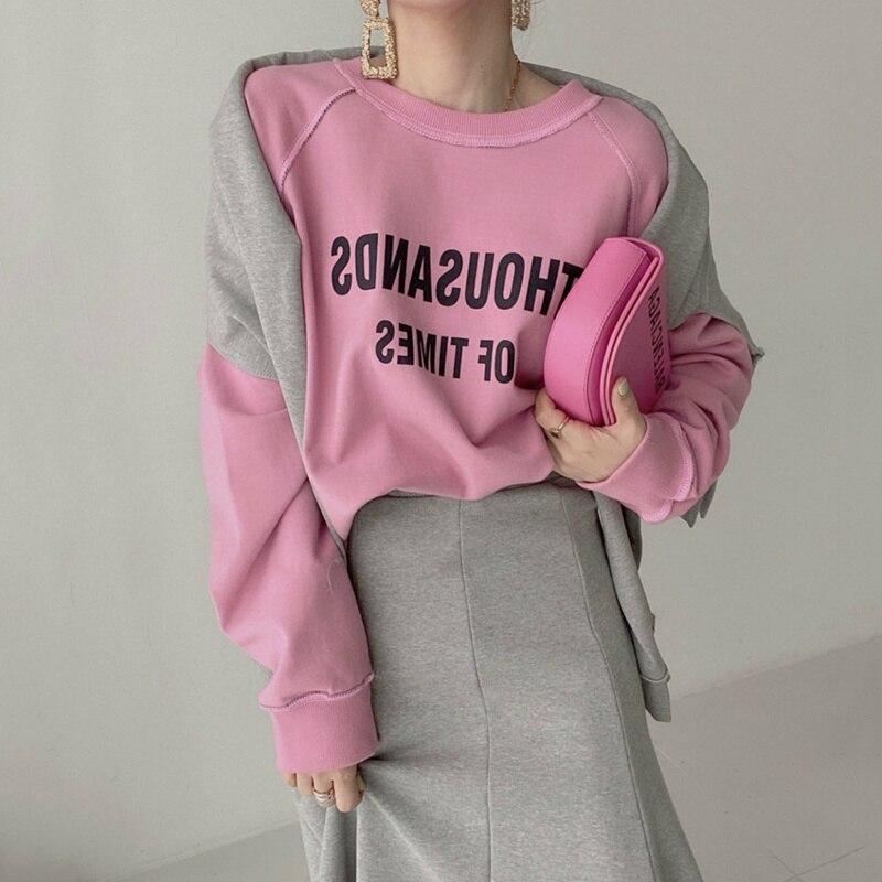 Hoodies Women Set Korean Autumn Minority Letter Printing Two Side Wearing Sweater + High Waist Fishtail Skirt Long Skirt Set