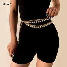 SHIXIN-Cinturón de cuentas de perlas en capas para mujer, cadena con borlas para pantalones, accesorios de vestir a la moda, cadenas de cintura para pantalones vaqueros