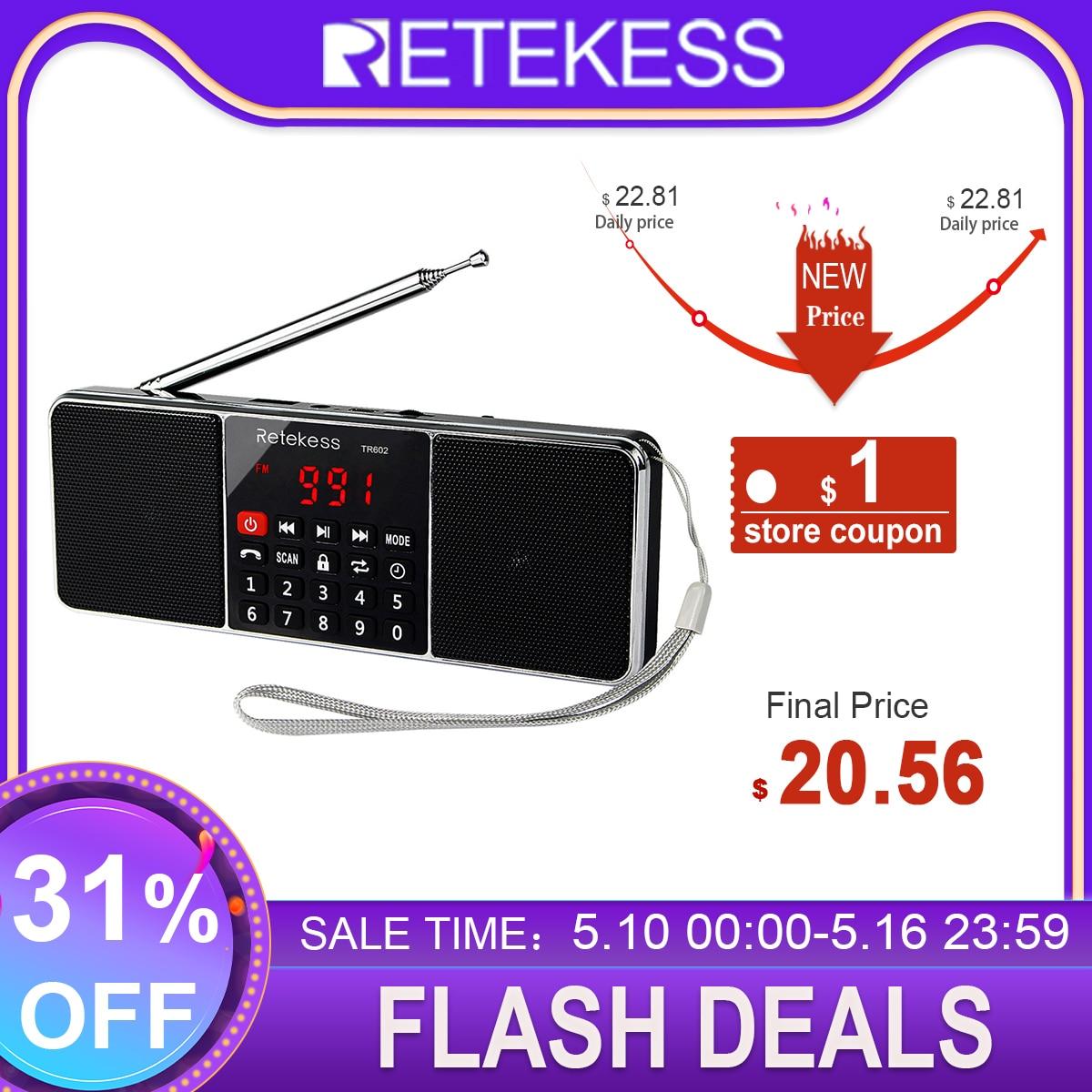 RETEKESS TR602 Digital Portable Radio AM FM Bluetooth Speaker Stereo MP3 Player TF/SD Card USB Drive Handsfree Call LED Display