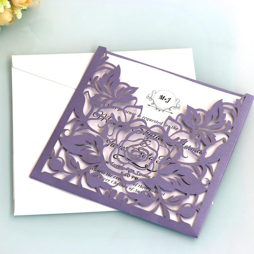 Delicado ligero de encaje de bolsillo de negocios de tarjeta de felicitación invitación de boda conjunto de papel de fiesta portátil Rosa flor
