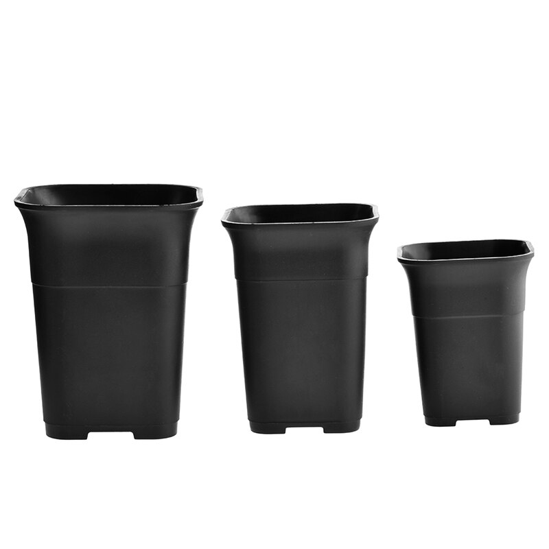 5Pcs Black Square High Waist Mini Nursery Pot Planter Succulent Plant Pot Small Flower Planters