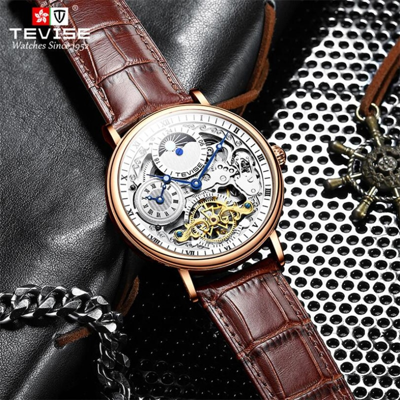 TEVISE Tourbillon Luxury Business Moon Phase Men Watch Dual Time Automatic Mechanical Male self-wind