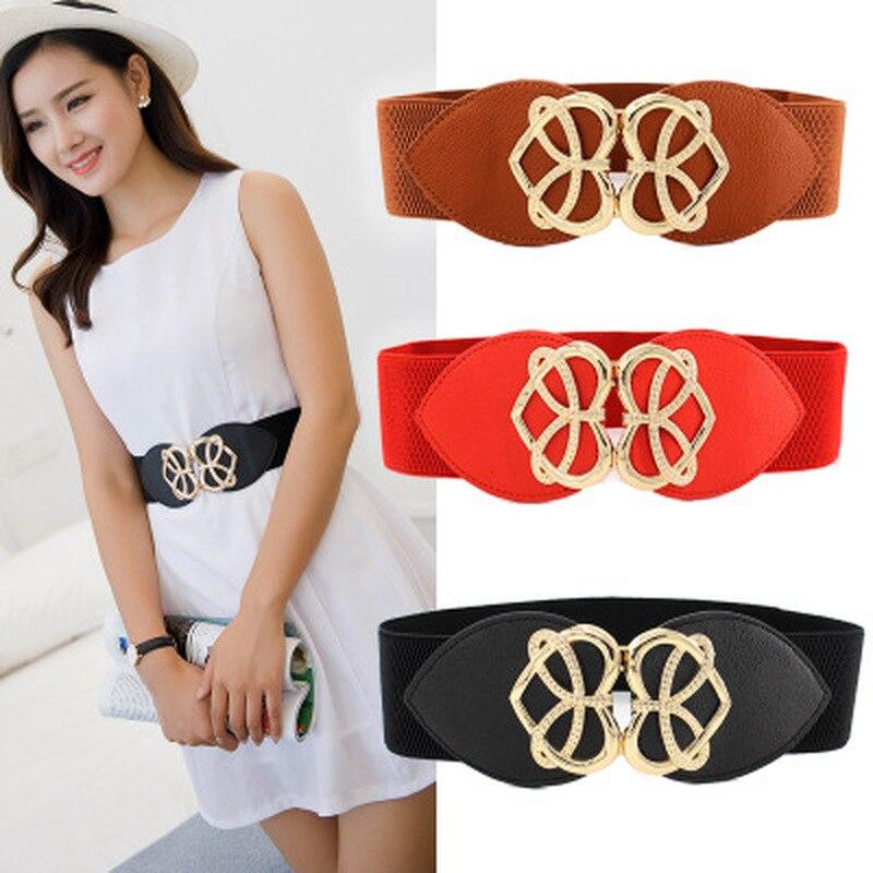 Women Bright Gold Heart Buckle Elastic Waistband Black 6cm Width and 60cm Long Waist Belt Dress Adornment for Women Waistband