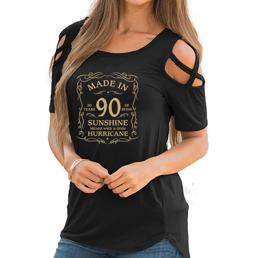 Bandage Off hombro camiseta para mujeres 30 cumpleaños regalos-Made In 90 impresión camiseta hombro frío manga corta Camisetas
