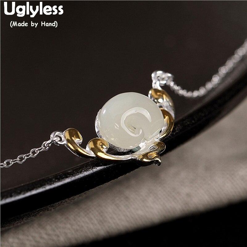 Uglyless de Jade Natural elefante gargantillas o mujeres sólido S 925 collares de plata + cadenas piedras preciosas elefantes animales colgantes P736