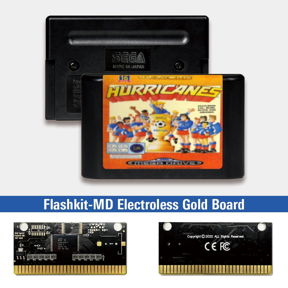 Tarjeta PCB para consola de videojuegos Sega Genesis Megadrive, etiqueta europea, Flashkit,...
