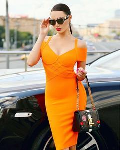Free Shipping Summer Style Sexy V Neck Short Sleeve Orange Bodycon Bandage Dress 2020 Designer Evening Party Dress Vestido