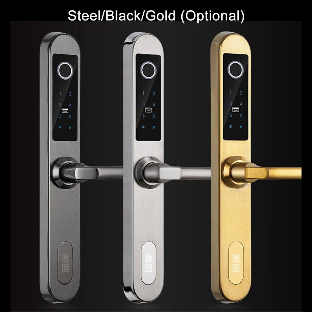 E6800S Digital Biometric Fingerprint Lock Keyless Smart Door Lock Fingerprint+Password+RFID Card+Key Unlocking 4 Ways