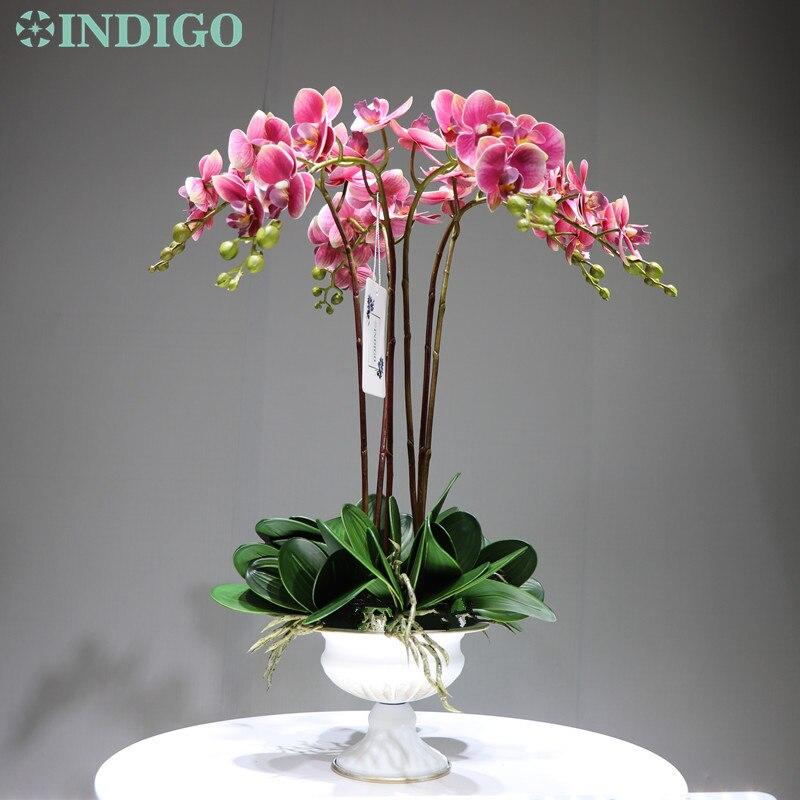 Indigo-roxo orquídeas phalaenopsis diy arranjo flor real toque mesa de escritório decoração peça central guarnição interior