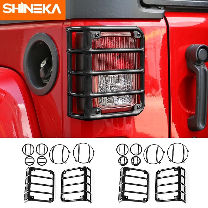 Shineka lâmpada traseira de veículo, tampa de farol automotivo para jeep wrangler jk 2007-2017 jeep wrangler jk