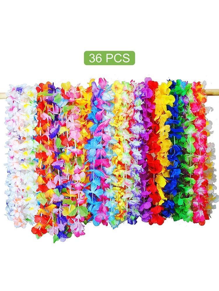 36 Uds 105CM fiesta hawaiana flores artificiales Leis guirnalda collar Hawaii playa flores Luau decoración de fiesta Tropical de verano