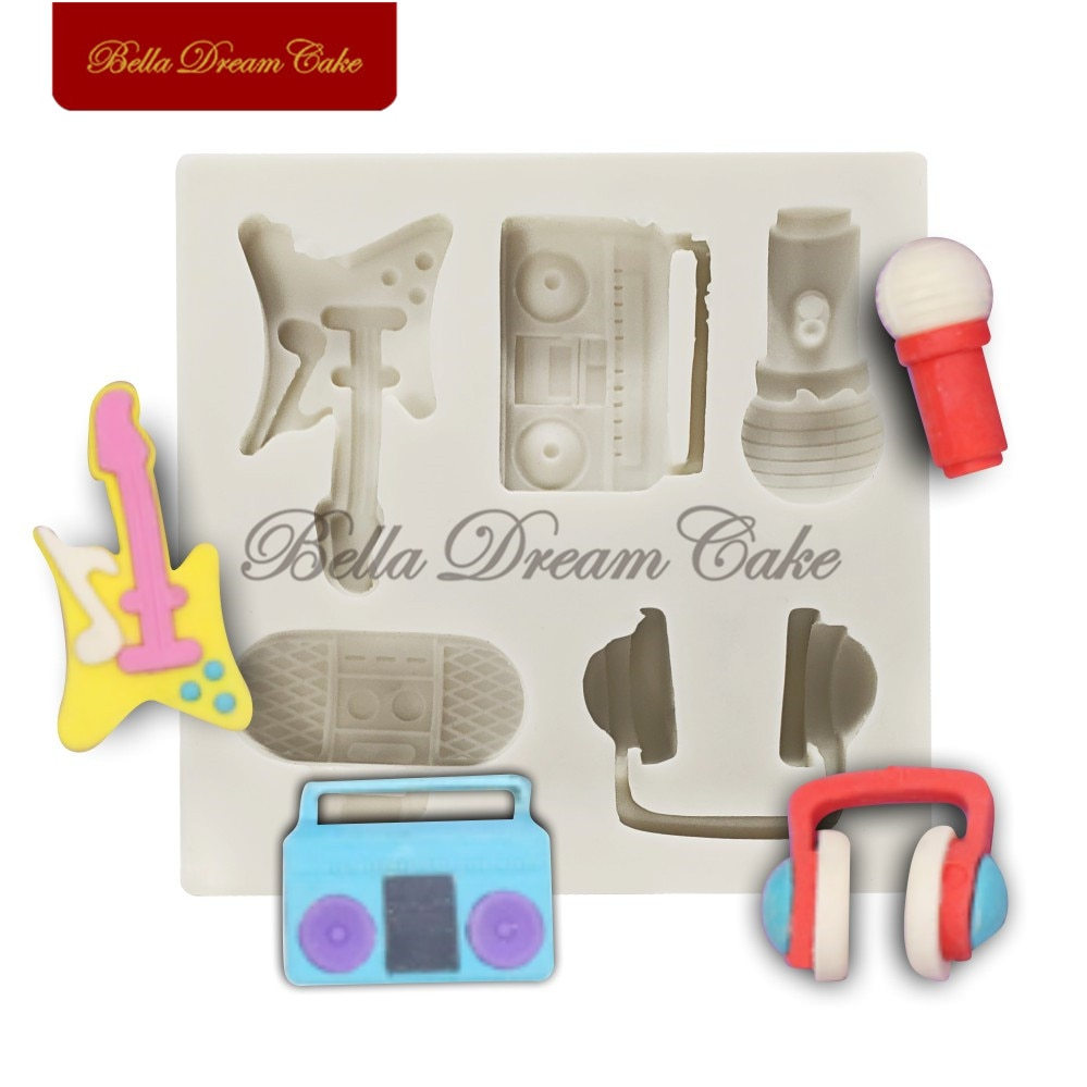 Radio/guitarra/auriculares/Mike silicona molde para dulce pastelero de Chocolate pastel de molde de utensilios de cocina de Decoración Accesorios de repostería