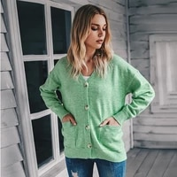 cardigan knitted womens knitted long sleeved single breasted v neck sweater casual soft cardigan with pockets green cardigan