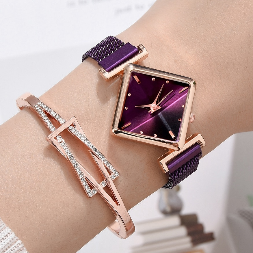 Women Square Watch Luxury Ladies Quartz Magnet Buckle Gradient Color Watches Relogio Feminino For Gi
