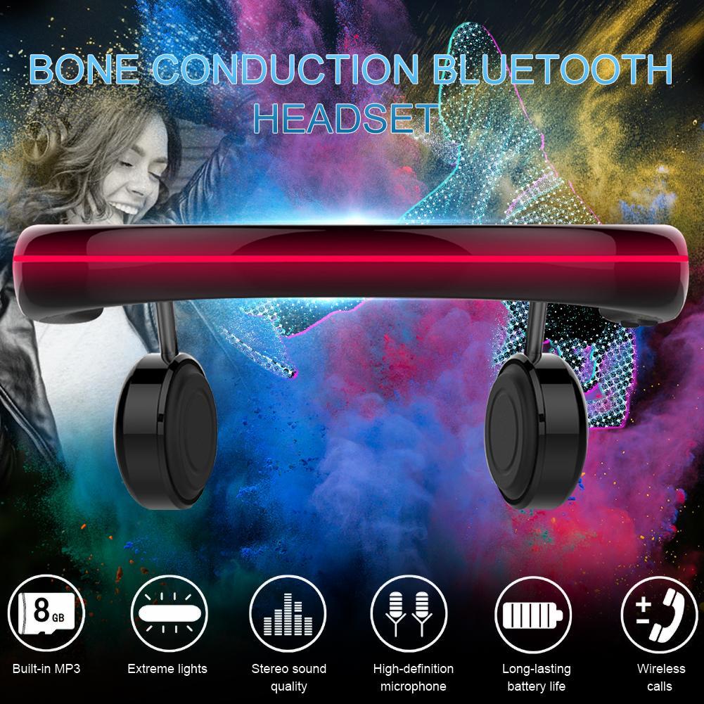 Bone Conduction Bluetooth 5.0 Headset 8G Memory Luminous Lights Running Headphones Wireless Outdoor Sport Mic Handsfree Earbuds enlarge