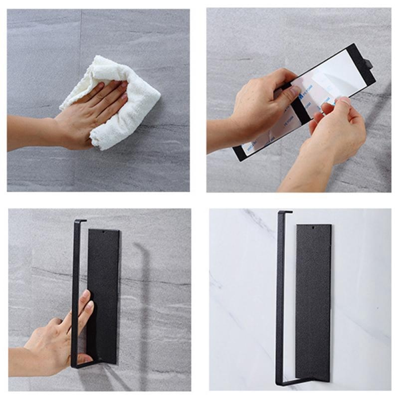 Купить с кэшбэком Kitchen Self-Adhesive Roll Rack Paper  Towel Holder Tissue Hanger Rack Nail-Free Cabinet Shelf Sundries Accessories