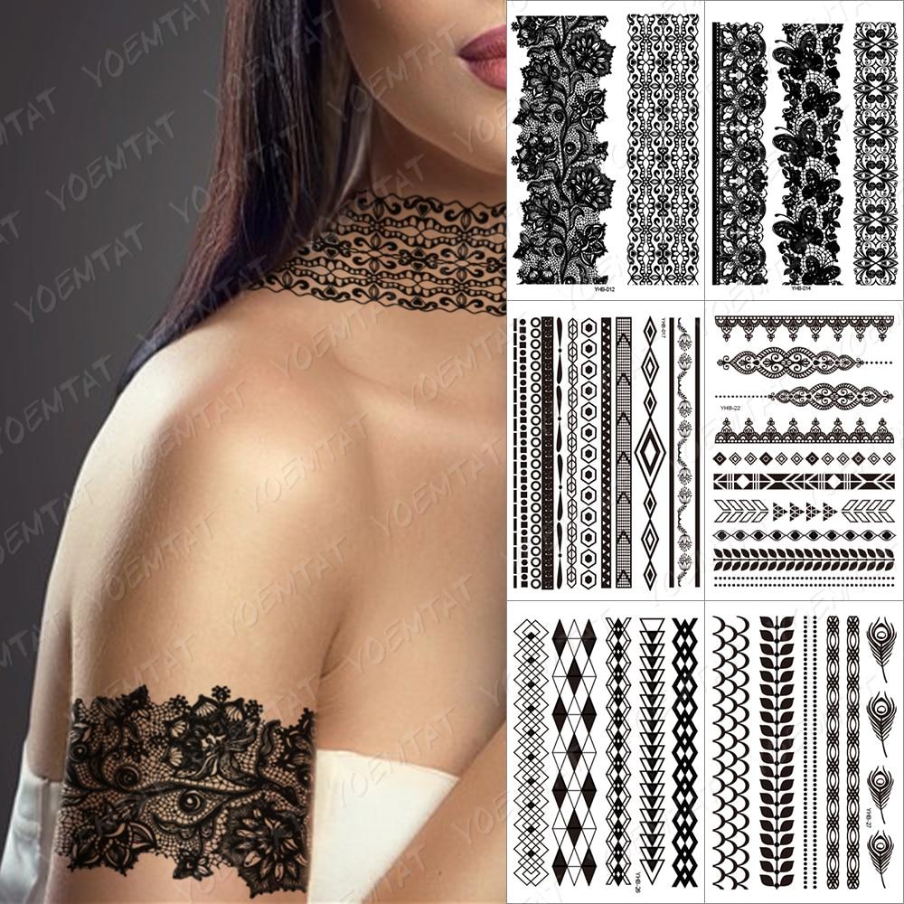 Fake Flower Temporary Waterproof Tatoo Henna black Bride For Women Body Art Tatto Pendant Choker Jewelry Lace Tatoo Sticker