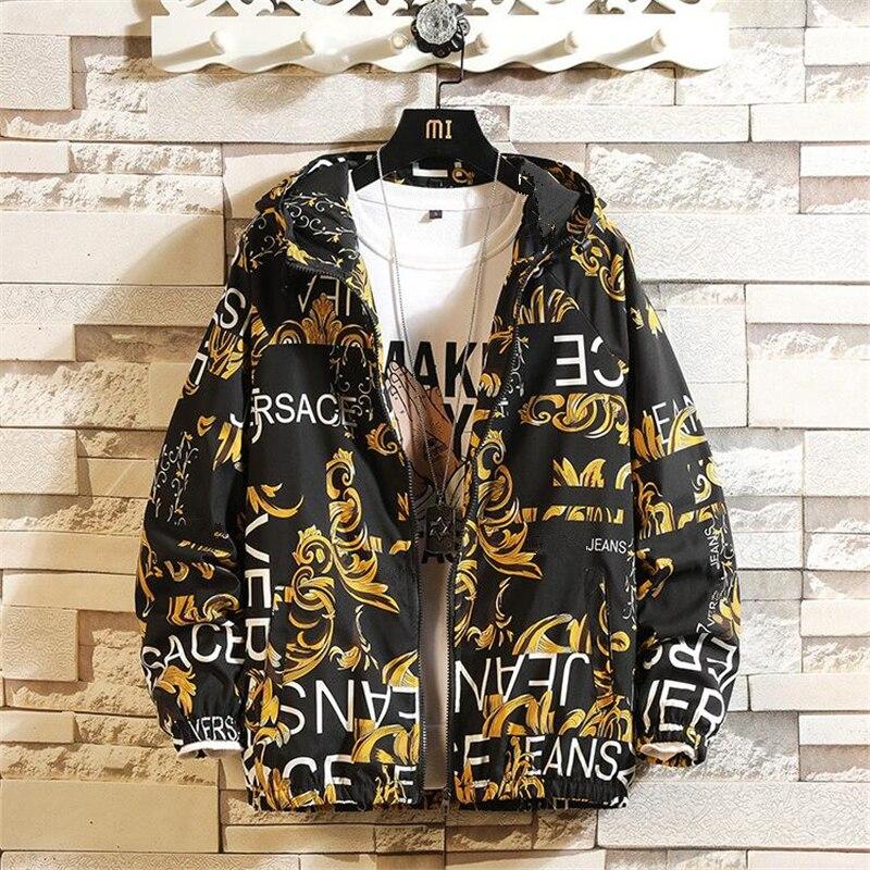 Mode Marke Frühling Herbst Männer Casual Streetwear Floral Hoodie Jacke Mann Wasserdichte Kleidung Herren Windbreaker Mantel Männlichen Outwear