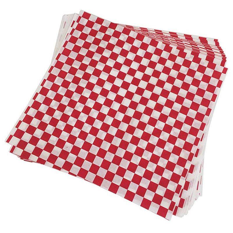 Forro para cesta de dulces a cuadros deli 100 Uds. Papel para envolver alimentos, repelente de grasa, embalaje de hamburguesas sándwich, rojo y blanco