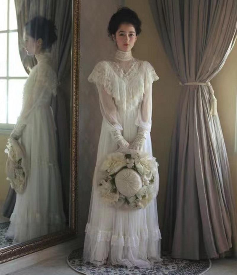 Vestido De Novia De manga larga con encaje, prenda De vestir, blanco,...