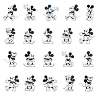 disney black and white stick figure mickey personality trend image resin jewelry epoxy earrings accessories