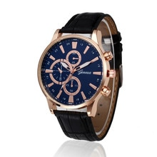 Retro Design Men Watches Leather Band Analog Alloy Quartz Watches Male Three Eyes And Six Pointer Wr