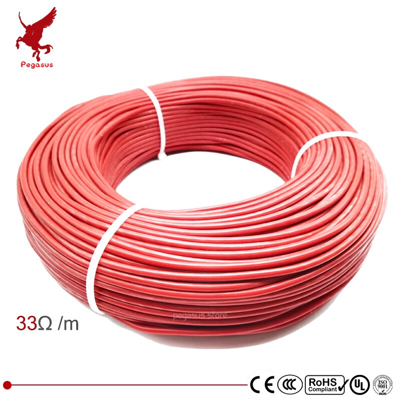 100m 12k 33ohm silikon rubber carbon faser heizung kabel 5 V-220 V boden heizung hohe qualität infrarot heizung draht