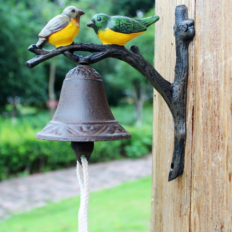 European and American Rural Pastoral Retro Creative Cast Iron Doorbell Welcome Wall Bell Hand-cranked Door Bell-oriole