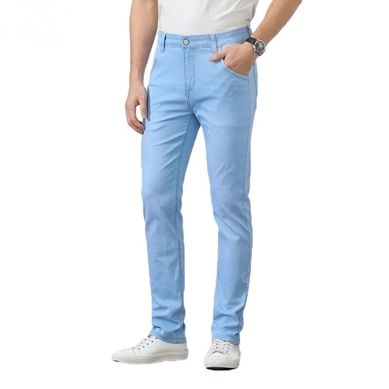 Весна-лето 2021, легкие джинсы с прямыми штанинами, Молодежные брендовые высококачественные хлопковые тянущиеся мужские тонкие зауженные дж...