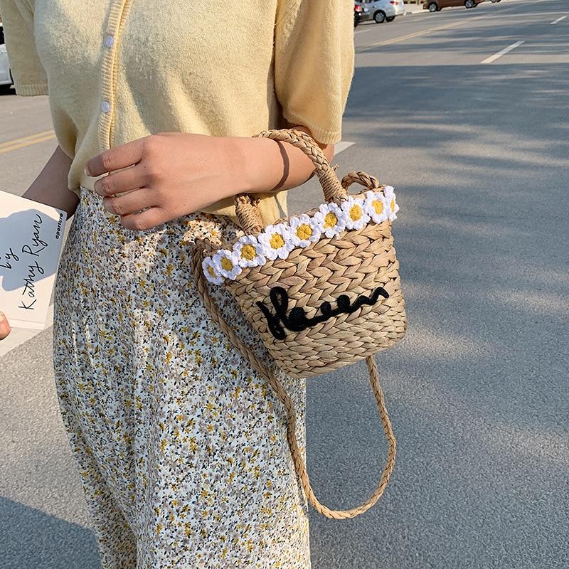 Женская маленькая сумка-мешок с травой хризантемы, летняя сумка-мессенджер, Женский дорожный кошелек и сумочка, женская сумка-мессенджер на...