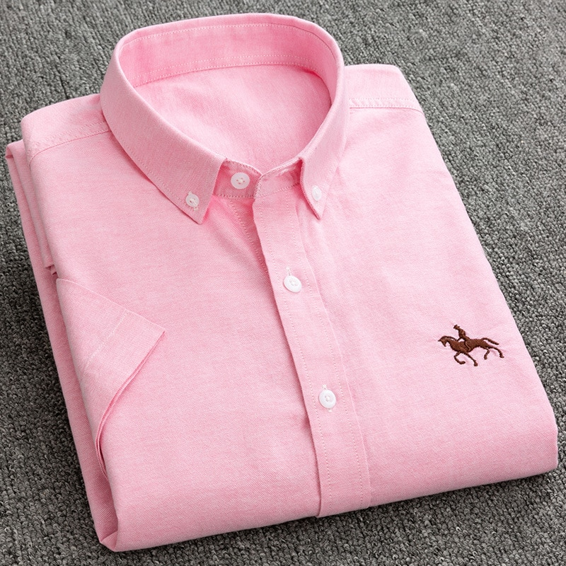 Free Shipping Summer Men's Fashion Embroidered Shirts Pink Short Sleeve Office Work Casual Shirt Korean Slim fit Clothing