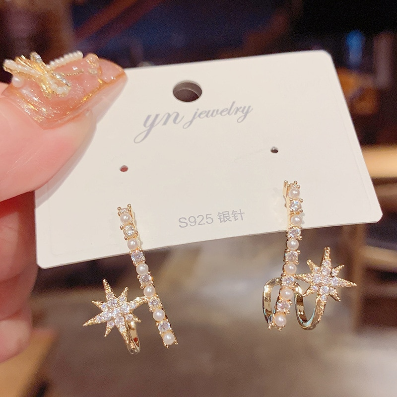 14K Real Gold S925 Silver Needle Simple Rhinestone Eight-pointed Star Stud Earrings for Women Cubic Zircon ZC Earrings  - buy with discount
