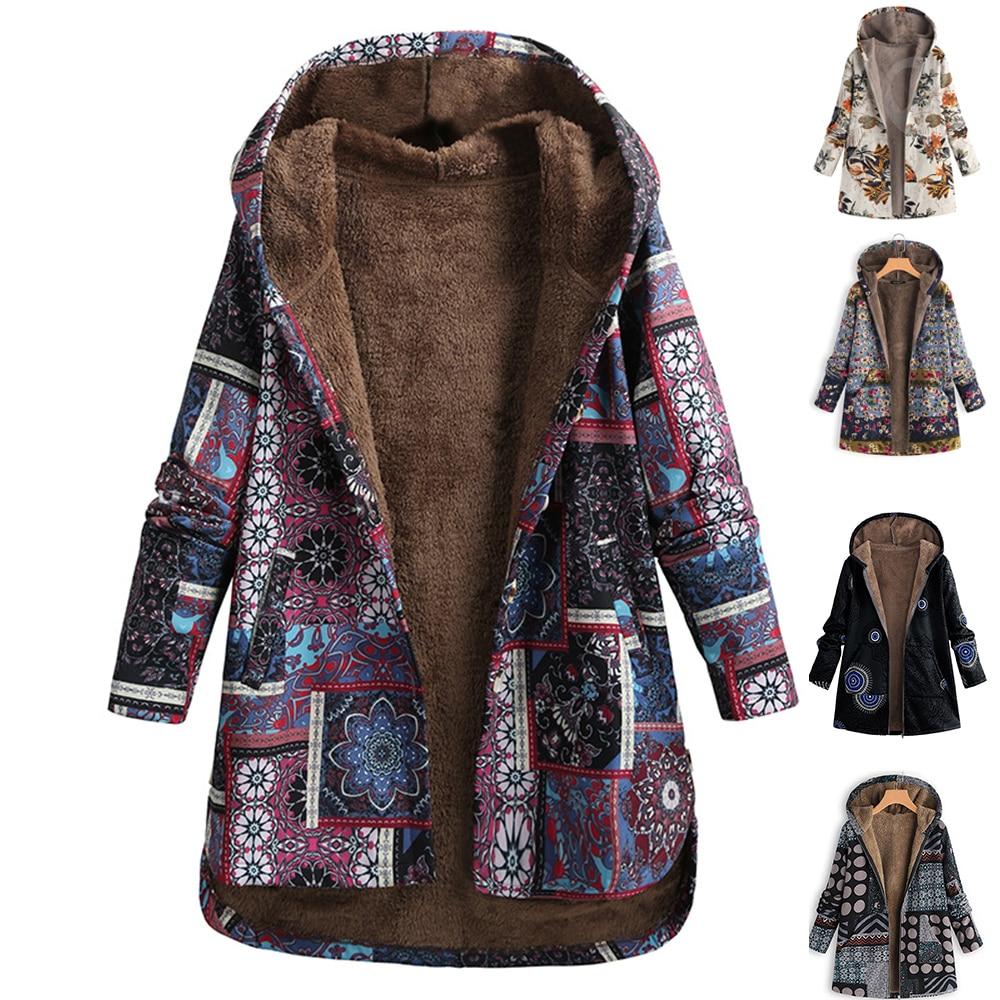 Autumn 2020 Women Floral Print Coat Hooded Jacket Open Front Warm Outerwear Overcoat big Size Manteau femme Jackets Windbreaker