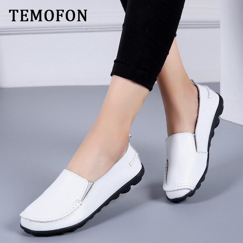 TEMOFON new Flats Shoes Woman Soft Women Casual shoes Genuine Leather Flats shoes slip on Loafers plus size women shoes HVT998