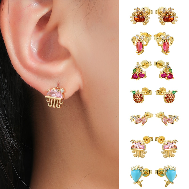 2 Pcs New Arrivals Color Zircon Lobster Seahorse Crab Cherry Earrings For Women Trendy Fashion Jewel