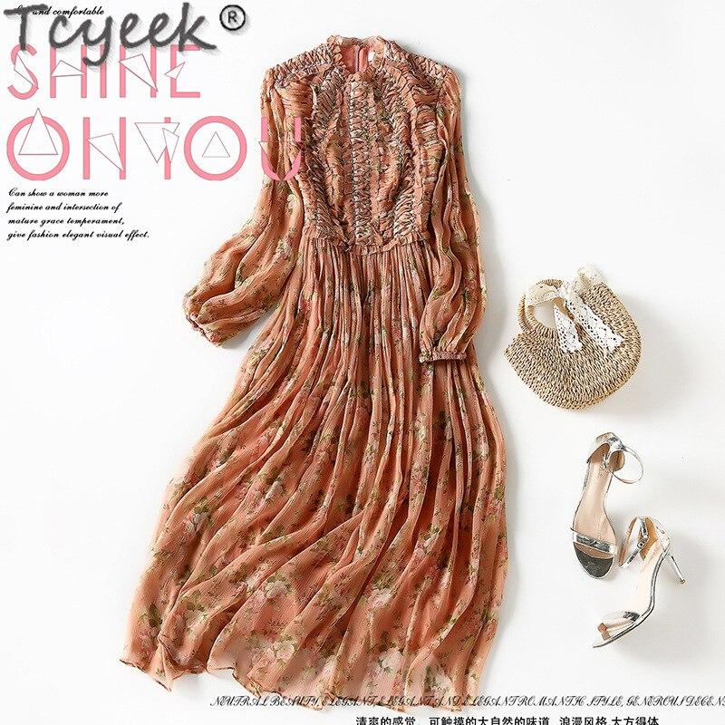 Tcyeek عالية الجودة امرأة اللباس 100% الحرير الزهور فساتين للنساء أنيقة اللباس طويلة الأكمام الربيع الخريف 2021 Vestido دي موهير