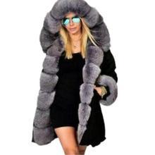 Grande taille S-5XL femmes hiver manteau pardessus fausse fourrure manteau veste avec capuche épais coton manteau femme Parkas fourrure veste Outwear