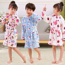 Boys And Girls Flannel Pajamas Robe Autumn Winter Children Bathrobe Soft Comfortable Kids Baby Cute