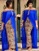 Женское платье с леопардовым принтом, вечернее платье в африканском стиле с рукавом до локтя и вырезом лодочкой, осень размера плюс