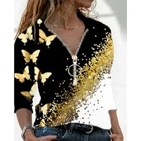 autumn long sleeve t shirt with zipper women v neck butterfly print patchwork oversized t shirt casual loose ladies tops blusas