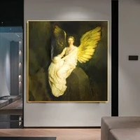 funny famous canvas painting wall art golden angel wings woman smoking poster print wall picture for living room home decoration