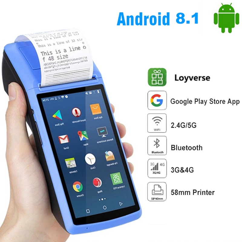 يده أندرويد 8.1 Pos طابعة طرفية مع بلوتوث طابعة الإيصالات الحرارية 3G واي فاي الطلب المحمول POS الطرفية