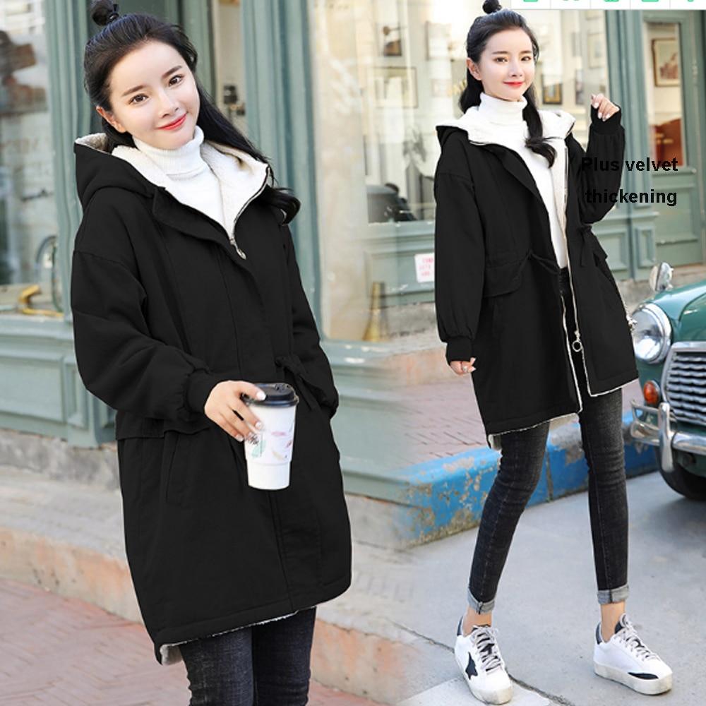 Plus XXXL maternity clothes medium long velvet thick coat casual loose cotton warm coat with cap enlarge