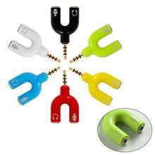 3.5mm Splitter Stereo Plug U-shaped Stereo Audio Mic & Headphone Earphone Splitter Adapters for Mobi
