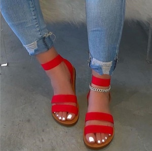 casual all-match slippers Spring/summer new hot sale 2020 double-layer stretch cloth candy color outdoor beach women sandals