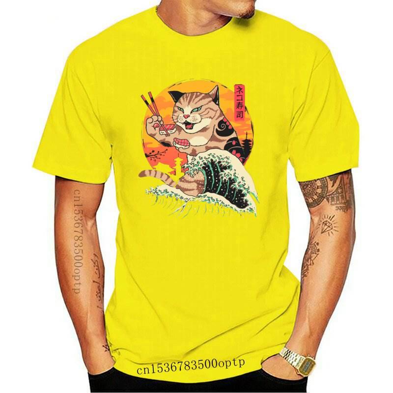 New Streetwear Tops Men's T-Shirt Ulzzang Harajuku Neko Shiba Inu Samurai T-Shirt Japan Anime Suhsi Cat Summer Casual Women Men