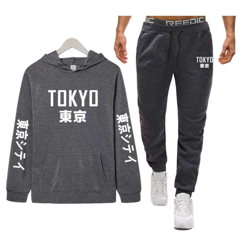 Ropa deportiva para hombre, marca Tokyo City, chándal deportivo Hip Hop, ropa de calle, dos piezas, sudaderas con capucha + Pantalones, chándal para hombre